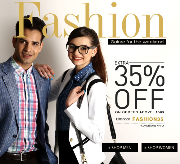 Jabong Fashion Weekend Galor. Extra 35% On Men and Women Clothing and Accessories